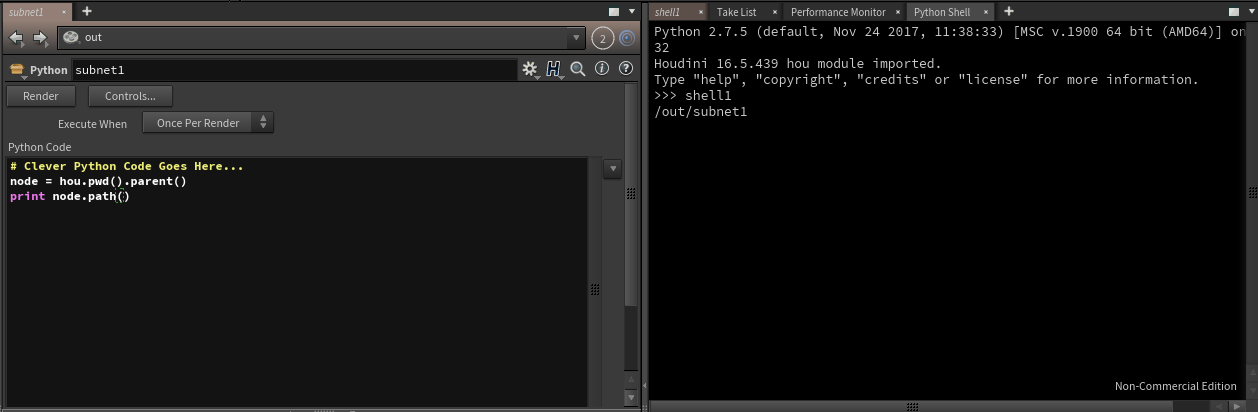 Parm Pane for Python Rop and Py Shell Side by Side Showing Expected Output